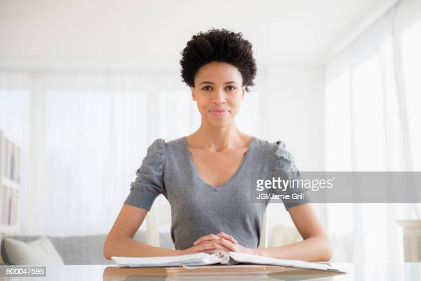 Black woman working at desk