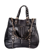 Black woman's large leather bag