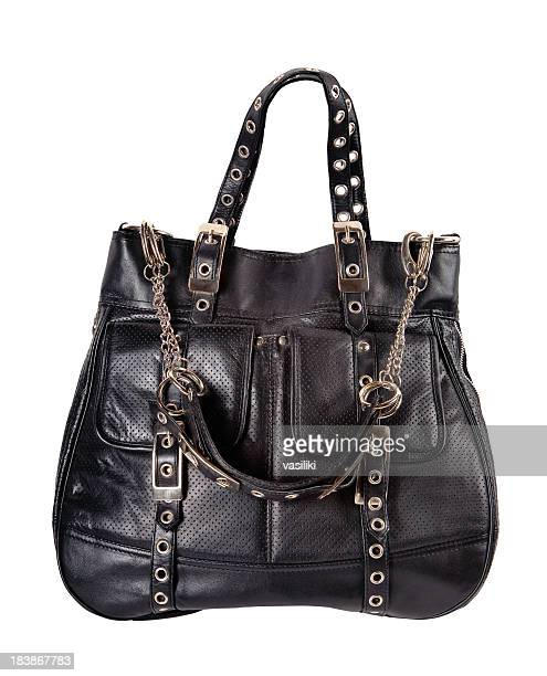 Black woman's large leather bag