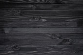 Dark black wood texture background viewed from above. The wooden planks are stacked horizontally