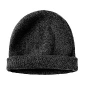 Black worm winter woolen hat cap flat isolated on white
