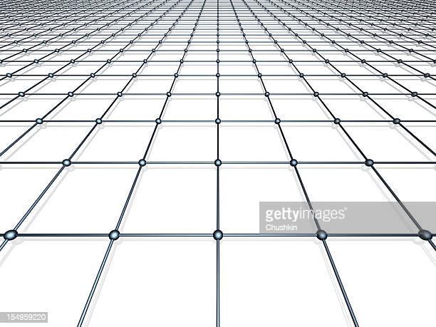 Black-and-white digital grid rendering