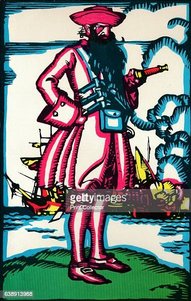 Blackbeard' c1900 Edward Teach or Edward Thatch better known as Blackbeard was a notorious English pirate who operated around the West Indies and the...