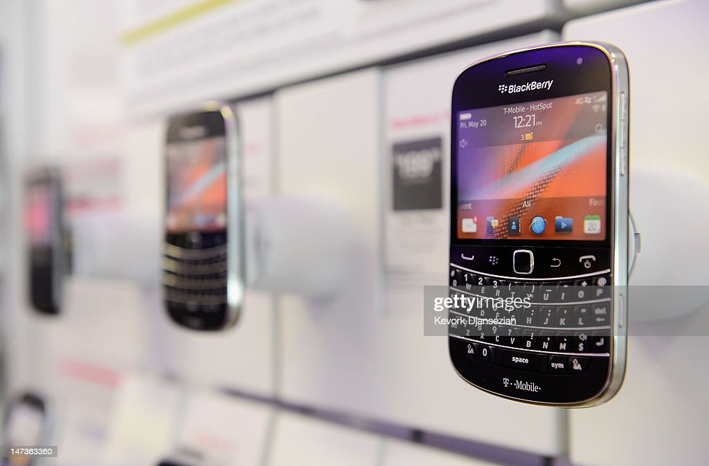 A Blackberry Bold 9900 4G smartphone sits on display for sale at T-Mobile store on June 28, 2012 in Los Angeles, California. Blackberry maker Research In Motion Ltd., will report its quarterly earnings on Thursday. (Photo by Kevork Djansezian/Getty Images