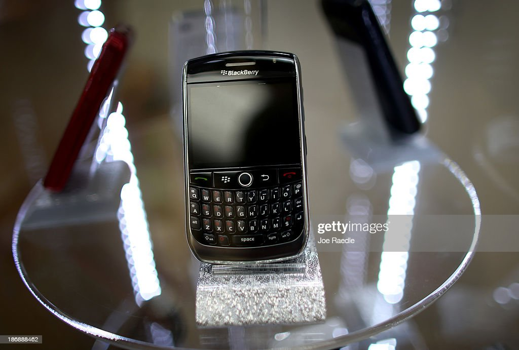 Blackberry cell phones are seen for sale at Fixx wireless on November 4, 2013 in Miami, Florida. Blackberry announced today it has abandoned plans to sell the company and that CEO Thorsten Heins will be leaving the company and step down from the board.
