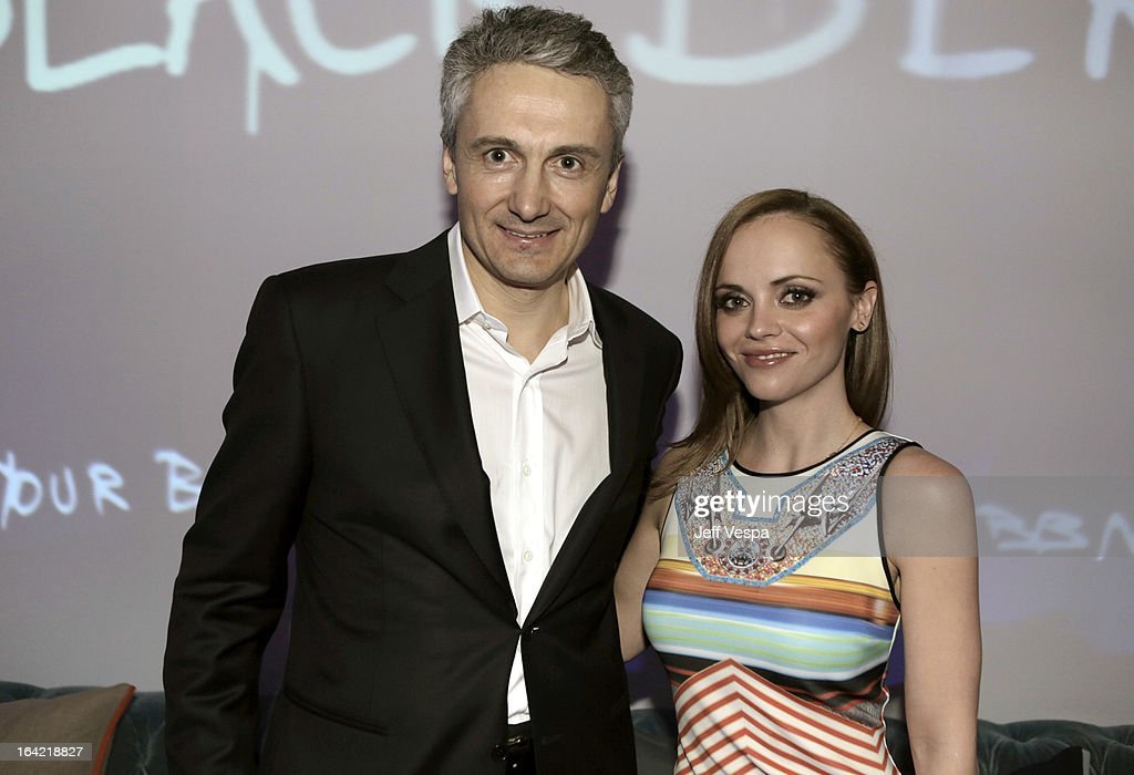 BlackBerry CMO Frank Boulben and actress <a gi-track='captionPersonalityLinkClicked' href=/galleries/search?phrase=Christina+Ricci&family=editorial&specificpeople=239510 ng-click='$event.stopPropagation()'>Christina Ricci</a> attend a celebration of the BlackBerry Z10 Smartphone launch at Cecconi's Restaurant on March 20, 2013 in Los Angeles, California.