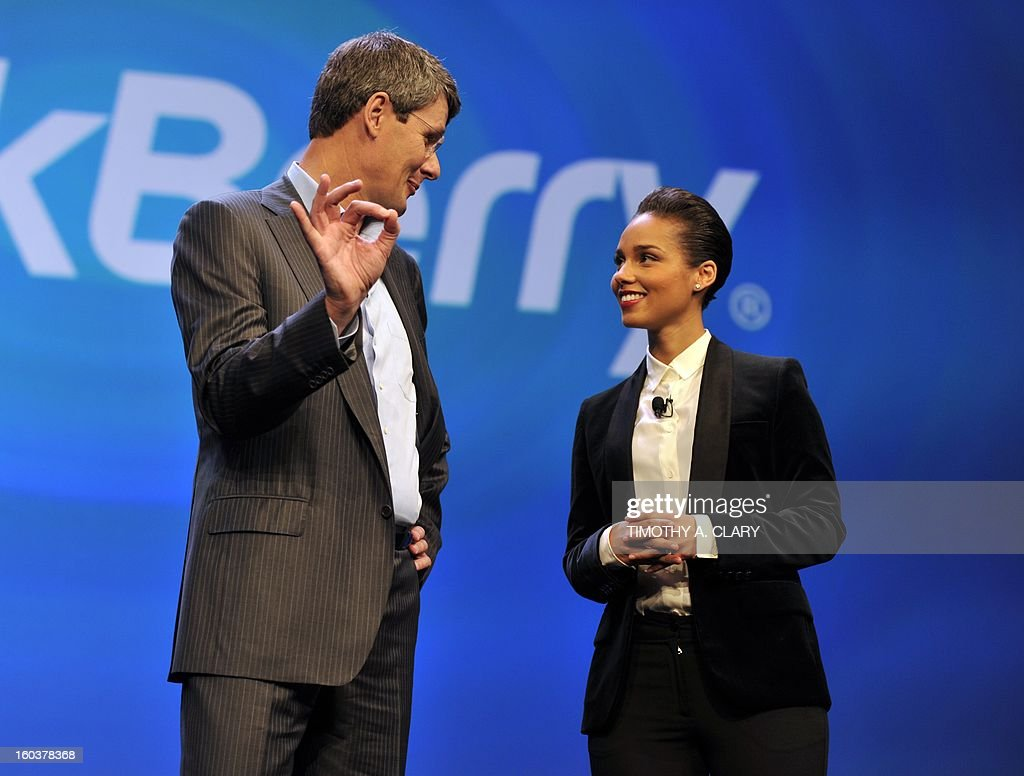 Blackberry, formerly Research in Motion CEO Thorsten Heins, and singer Alicia Keys officially unveil the BlackBerry 10 mobile platform as well as two new devices January 30, 2013 at the New York City Launch at Pier 36. BlackBerry launched its comeback effort Wednesday with a revamped platform and a pair of sleek new handsets, along with a company name change as part of a move to reinvent the smartphone maker. Canadian-based Research in Motion said it had changed its name to BlackBerry as it launched the BlackBerry 10, the new platform aimed at helping the firm regain traction in a market now dominated by rivals.