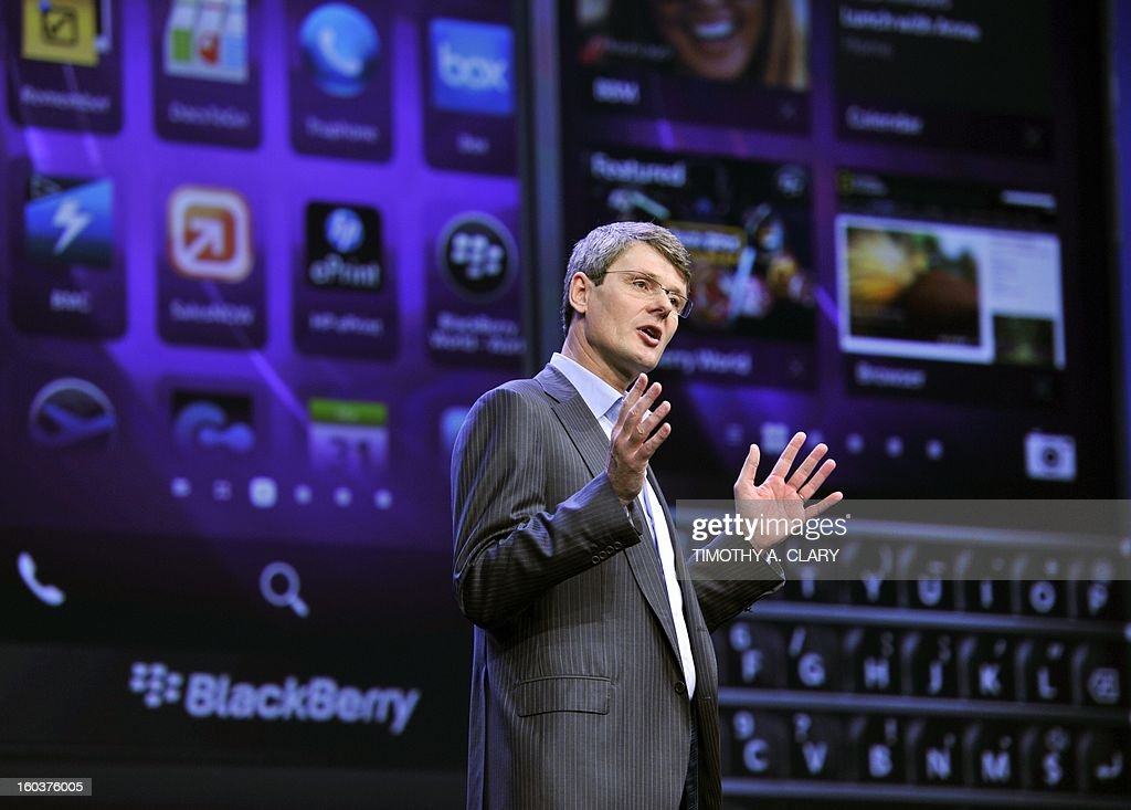 Blackberry, formerly Research in Motion CEO Thorsten Heins, as officially unveils the BlackBerry 10 mobile platform as well as two new devices January 30, 2013 at the New York City Launch at Pier 36. BlackBerry launched its comeback effort Wednesday with a revamped platform and a pair of sleek new handsets, along with a company name change as part of a move to reinvent the smartphone maker. Canadian-based Research in Motion said it had changed its name to BlackBerry as it launched the BlackBerry 10, the new platform aimed at helping the firm regain traction in a market now dominated by rivals.