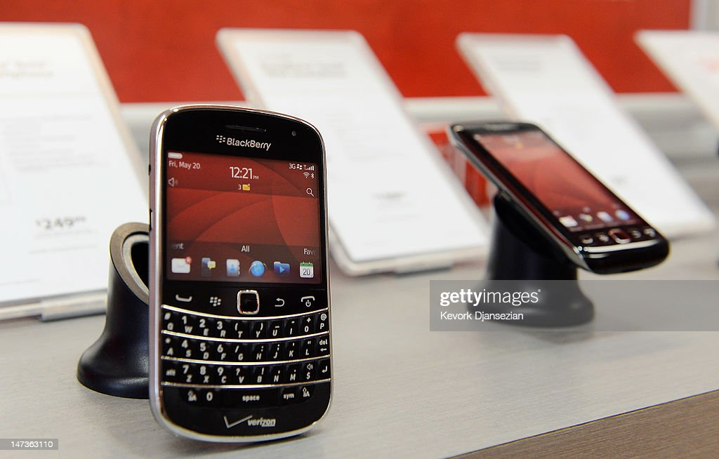 Blackberry phones are for sale at a Verizon store on June 28, 2012 in Beverly Hills, California. Blackberry maker Research In Motion Ltd. will report its quarterly earnings on Thursday.