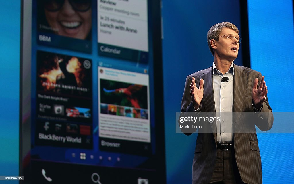BlackBerry President and Chief Executive Officer Thorsten Heins speaks at the BlackBerry 10 launch event at Pier 36 in Manhattan on January 30, 2013 in New York City. The new smartphone and mobile operating system is being launched simultaneously in six cities.