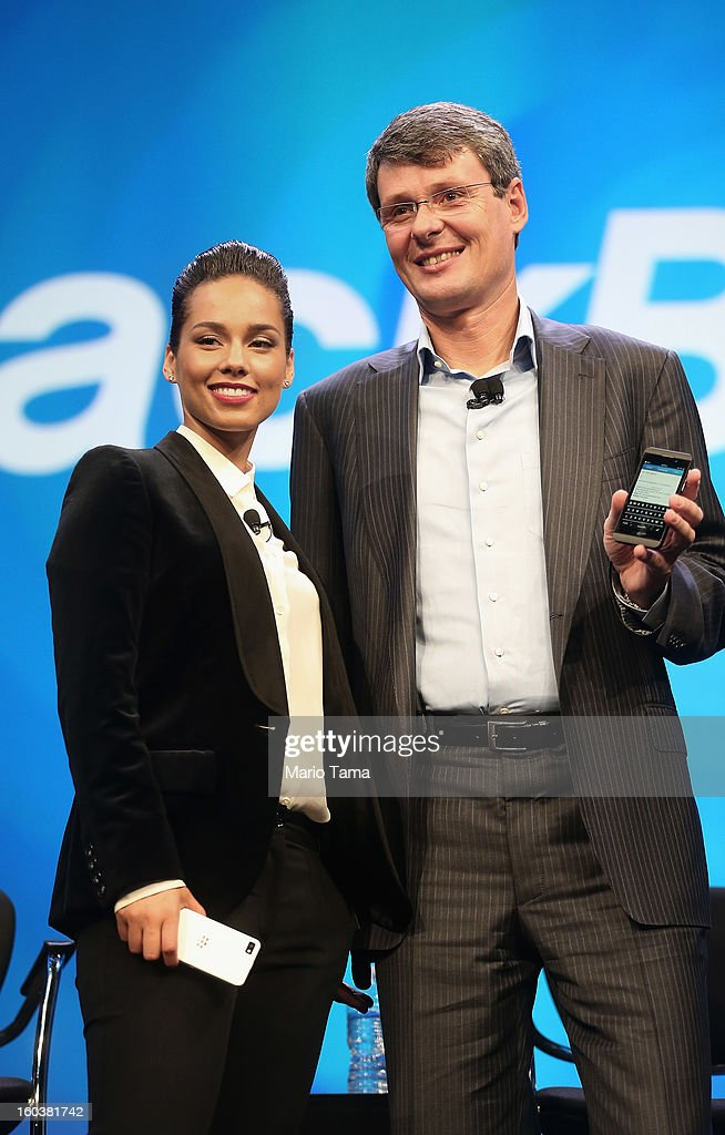 BlackBerry President and Chief Executive Officer Thorsten Heins (R) stands with new BlackBerry Global Creative Director <a gi-track='captionPersonalityLinkClicked' href=/galleries/search?phrase=Alicia+Keys&family=editorial&specificpeople=169877 ng-click='$event.stopPropagation()'>Alicia Keys</a> at the BlackBerry 10 launch event at Pier 36 in Manhattan on January 30, 2013 in New York City. The new smartphone and mobile operating system is being launched simultaneously in six cities.
