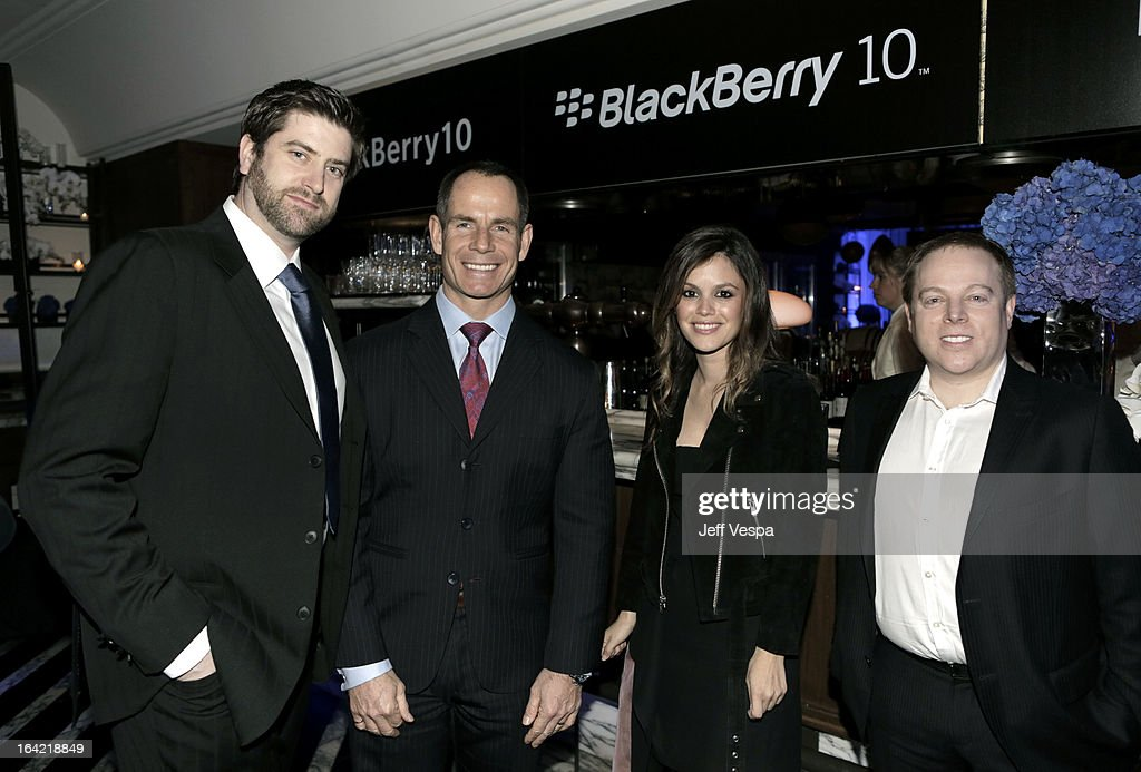 BlackBerry VP of Channel Marketing Michael McDowell, BlackBerry CMO Frank Boulben, Actress Rachel Bilson and BlackBerry VP of Corporate Communications Adam Emery attend a celebration of the BlackBerry Z10 Smartphone launch at Cecconi's Restaurant on March 20, 2013 in Los Angeles, California.