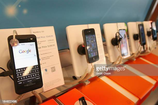 BlackBerry Z10 is offered for sale alongside phones from other manufacturers at an ATT store on March 28 2013 in Chicago Illinois The Z10 has been...