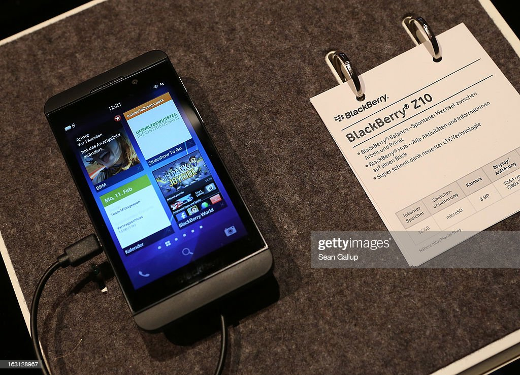 A Blackberry Z10 smartphone, which is the Germany version of the Blackberry 10, lies on display at the Vodafone stand at the 2013 CeBIT technology trade fair on March 5, 2013 in Hanover, Germany. CeBIT will be open March 5-9.