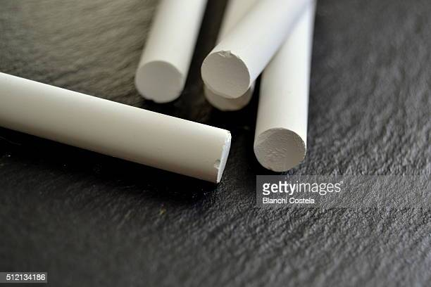 Blackboard and white  chalks