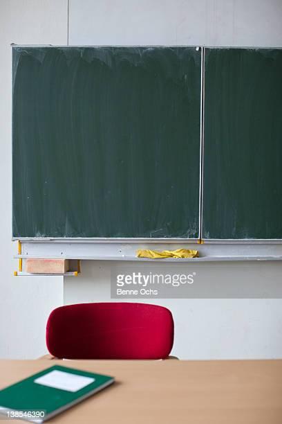 Blackboard behind teachers desk