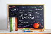Blackboard in an Italian language classroom with the message LEARN ITALIAN (Imparare l' Italiano) and some other linguistic words.