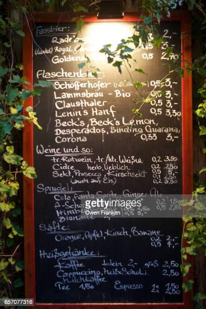 blackboard menu outside a German weinstube