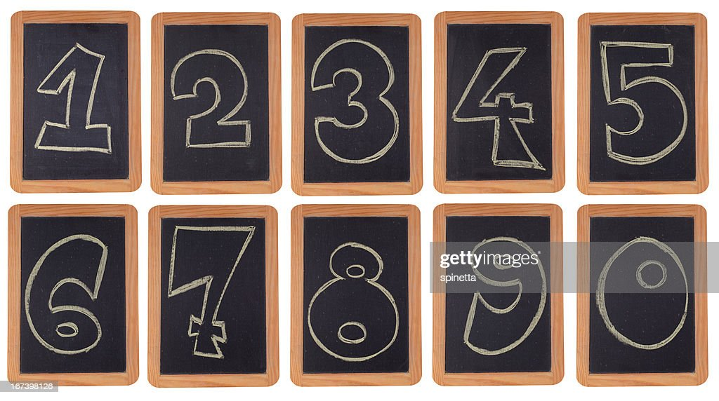 Blackboard numbers set : Stockfoto