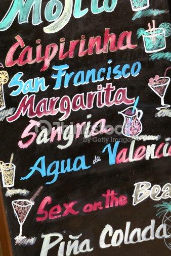 blackboard promoting cocktails in valencia spain stock photo