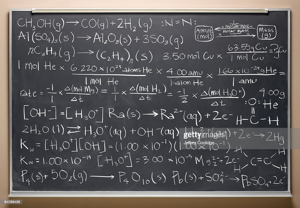 blackboard with equations : Stock Photo
