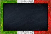 empty chalkboard blackboard with wooden italy italian flag frame blank