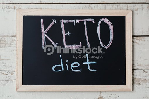 """Blackboard with text """"Keto Diet"""" on wooden background, top view. Ketogenic diet concept, a new trend in slimming. Nutrition concept : Stock Photo"""