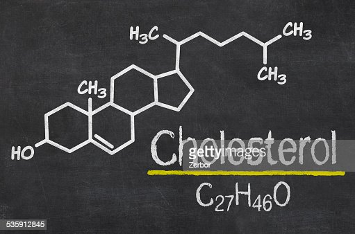 Blackboard with the chemical formula of cholesterol : Stock Photo