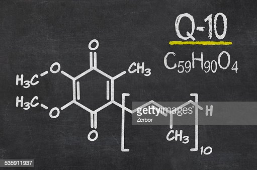 Blackboard with the chemical formula of coenzyme q10 : Stock Photo