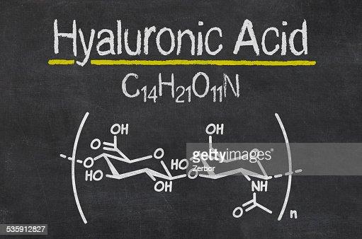 Quadro Negro com a fórmula química do ácido hialurónico : Foto de stock