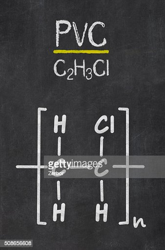 Blackboard with the chemical formula of PVC : Stock Photo