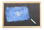 Blackboard with the national flag of Somalia drawn on and a chalk.(series)