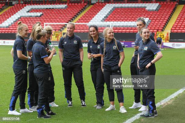 Blackburn arrive for the FA Women's Premier League Playoff Final between Tottenham Hotspur Ladies and Blackburn Rovers Ladies at The Valley on May 28...