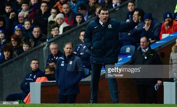 Blackburn manager Gary Bowyer reacts during the FA Cup Fifth round match between Blackburn Rovers and Stoke City at Ewood park on February 14 2015 in...