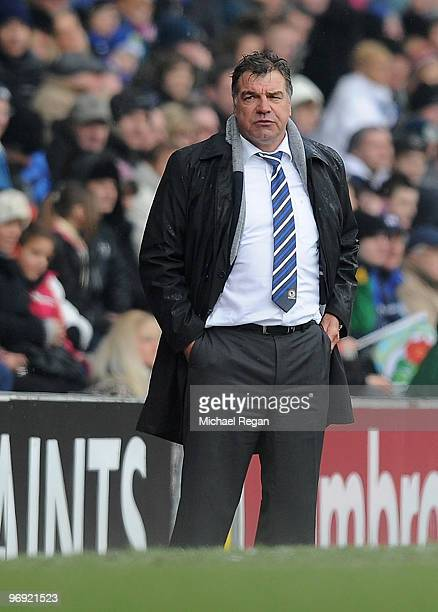 Blackburn manager Sam Allardyce looks on during the Barclays Premier League match between Blackburn Rovers and Bolton Wanderers at Ewood Park on...