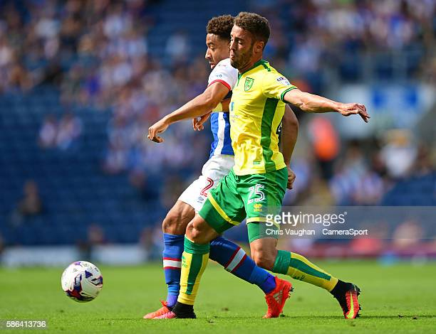 Blackburn Rovers' Adam Henley vies for possession with Norwich City's Ivo Pinto during the EFL Sky Bet Championship match between Blackburn Rovers...