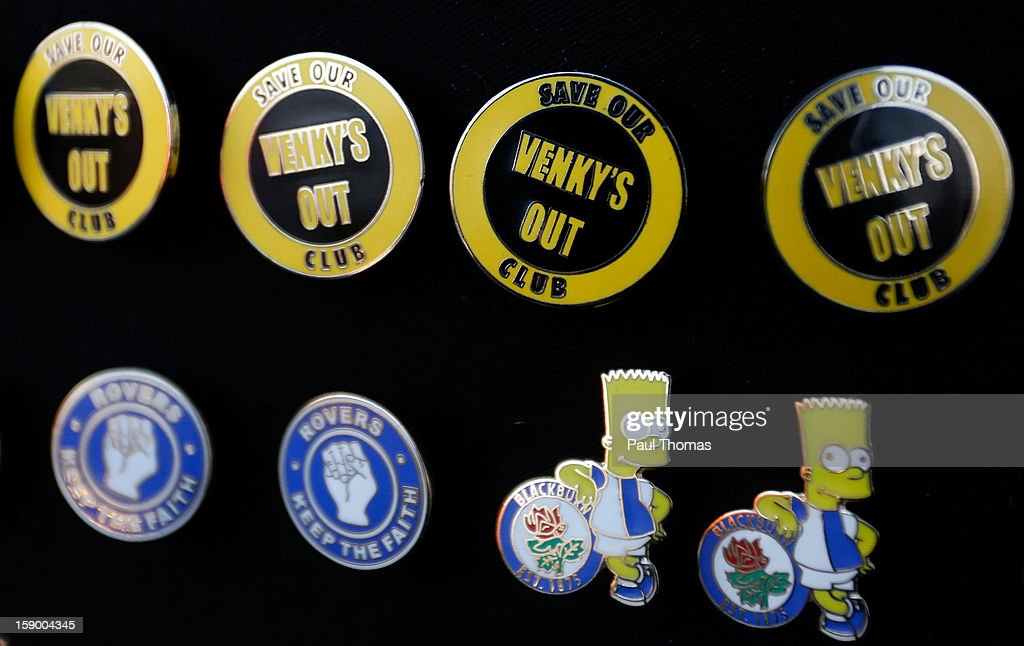 Blackburn Rovers badges are displayed on sale before the FA Cup with Budweiser Third Round match between Blackburn Rovers and Bristol City at Ewood Park on January 5, 2013 in Blackburn, England.