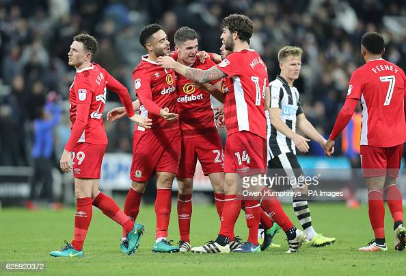 Blackburn Rovers celebrate at the end of the match after beating Newcastle in the Sky Bet Championship match at the St James' Park Newcastle