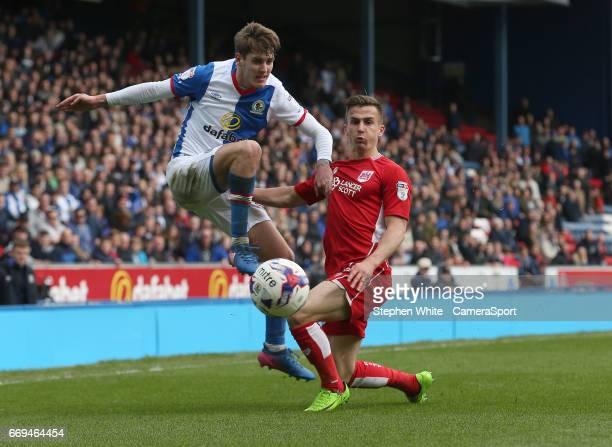 Blackburn Rovers' Connor Mahoney has his cross blocked by Bristol City's Joe Bryan during the Sky Bet Championship match between Blackburn Rovers and...