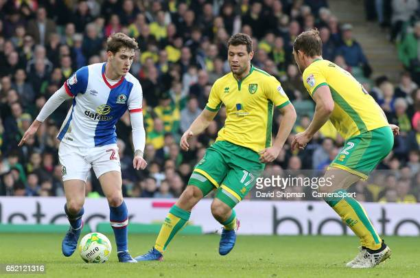 Blackburn Rovers' Connor Mahoney tries to find a way through the Norwich City defence during the Sky Bet Championship match between Norwich City and...