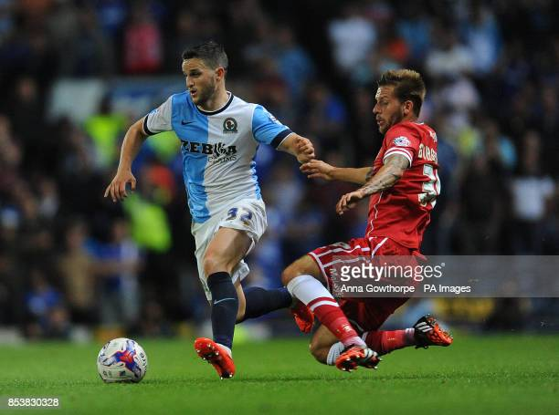 Blackburn Rovers' Craig Conway and Cardiff City's Guido Burgstaller in action during the Sky Bet Championship match Ewood Park Blackburn