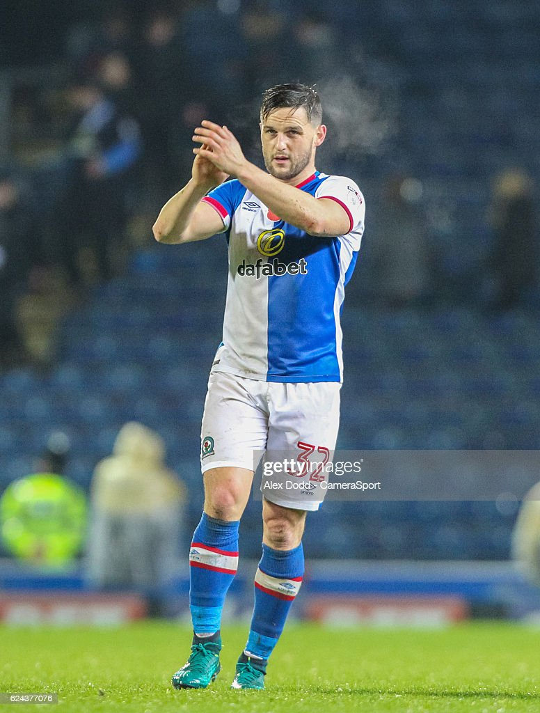Blackburn Rovers' Craig Conway applauds the fans after the full time whistle during the Sky Bet Championship match between Blackburn Rovers and Brentford at Ewood Park on November 19, 2016 in Blackburn, England.