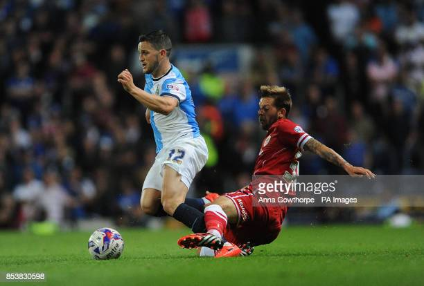 Blackburn Rovers' Craig Conway is brought down by Cardiff City's Guido Burgstaller during the Sky Bet Championship match Ewood Park Blackburn