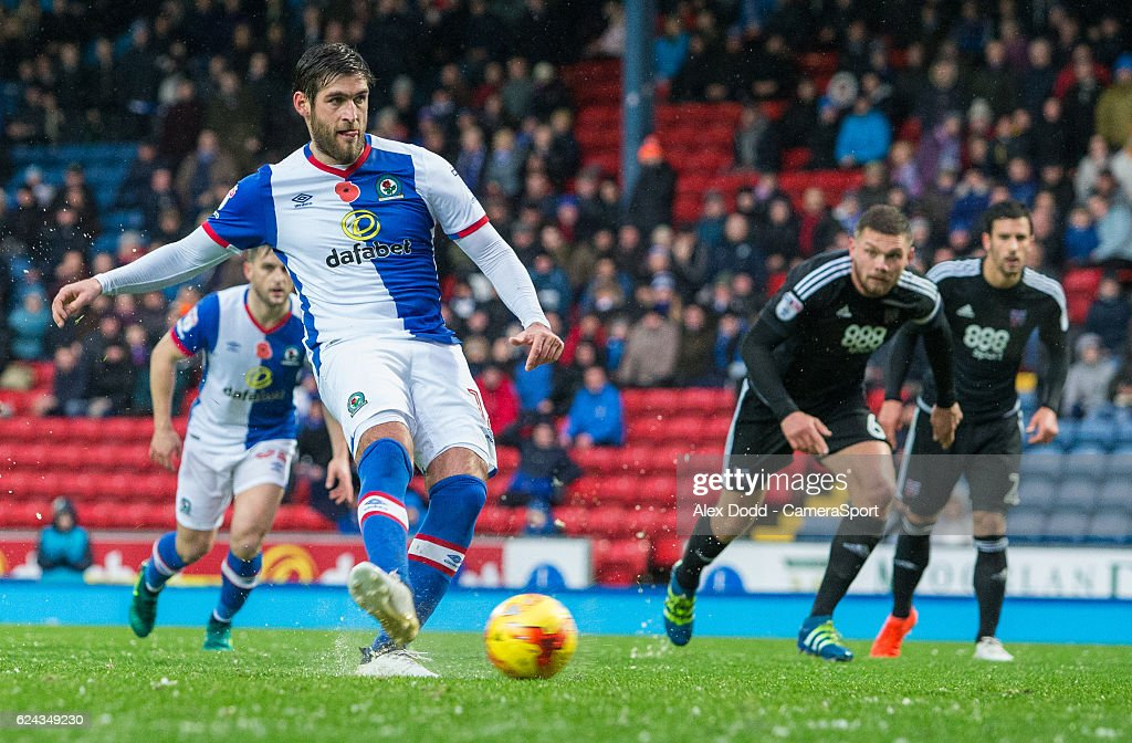 Blackburn Rovers' Danny Graham scores his sides second goal from the penalty spot during the Sky Bet Championship match between Blackburn Rovers and Brentford at Ewood Park on November 19, 2016 in Blackburn, England.