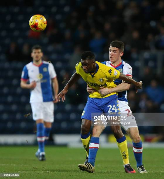 Blackburn Rovers' Darragh Lenihan grapples with Leeds United's Hadi Sacko during the Sky Bet Championship match between Blackburn Rovers and Leeds...
