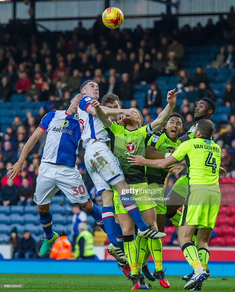 Blackburn Rovers' Darragh Lenihan jumps the highest in a crowded penalty area during the Sky Bet Championship match between Blackburn Rovers and Reading at Ewood Park on December 17, 2016 in Blackburn, England.