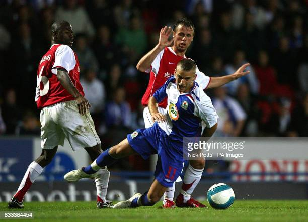 Blackburn Rovers' David Bentley falls in a tackle from MyPa's Kuami Agboh and Nebi Mustafi during the UEFA Cup Second Qualifying Round Second Leg...