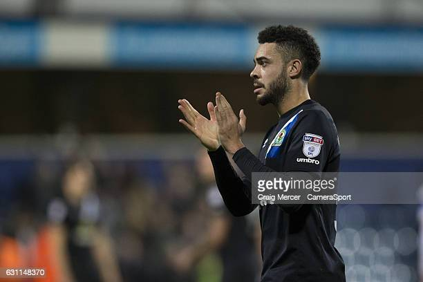 Blackburn Rovers' Derrick Williams applauds the away fans at full time during the Emirates FA Cup Third Round match between Queens Park Rangers and...