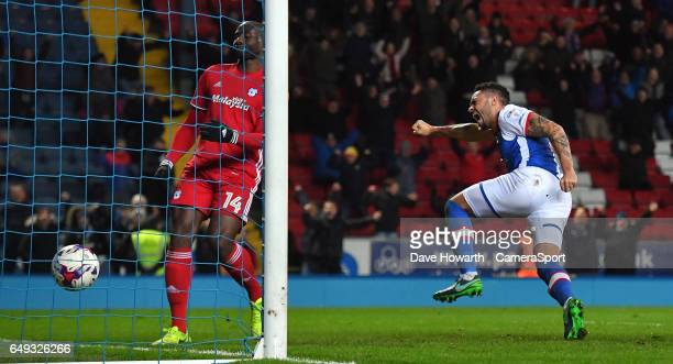 Blackburn Rovers' Derrick Williams celebrates his equalising goal during the Sky Bet Championship match between Blackburn Rovers and Cardiff City at...