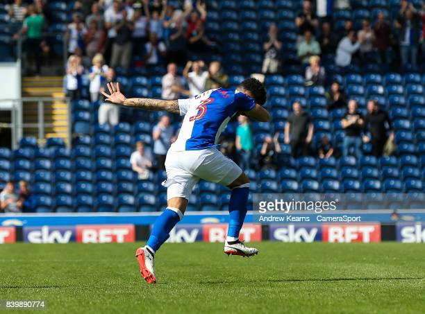 Blackburn Rovers' Derrick Williams scores his side's first goal during the Sky Bet League One match between Blackburn Rovers and Milton Keynes Dons...